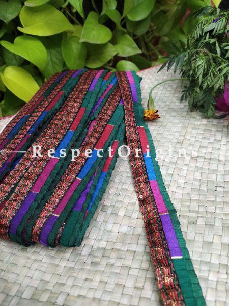 Beautiful Embroidered Silk Border; Multicoloured Strip Gota Work; RespectOrigins.com