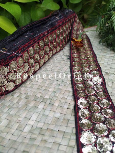 Beautiful Embroidered Silk Border; With Dark Blue Base & Golden Gota Work; RespectOrigins.com