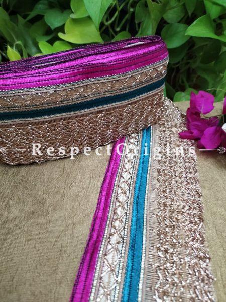 Beautiful Embroidered Silk Border; With Pink-Blue Base, Golden Gota Work; RespectOrigins.com