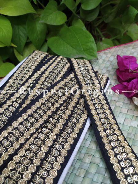 Beautiful Embroidered Silk Border; With Black Base & Golden Gota Work; RespectOrigins.com