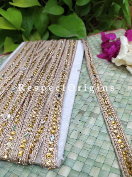 Beautiful Embroidered Silk Border; With Beige Base & Golden Gota Work; RespectOrigins.com