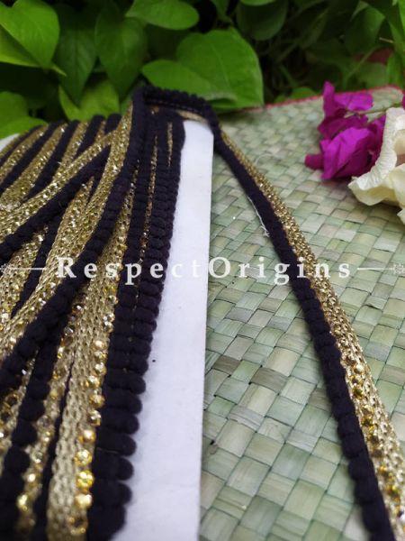 Beautiful Embroidered Silk Border; With Black Base & Shimmer Golden Gota Work; RespectOrigins.com