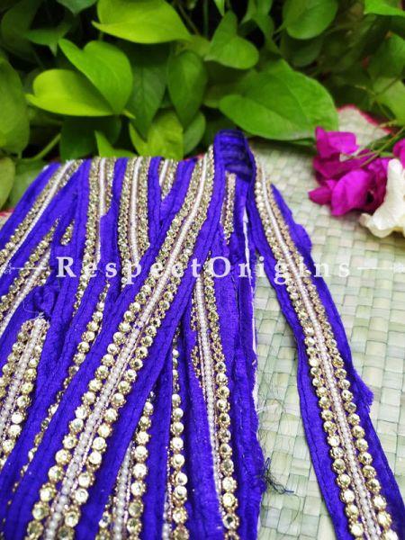 Beautiful Embroidered Silk Border; With Blue Base & Shimmer Golden Gota Work; RespectOrigins.com