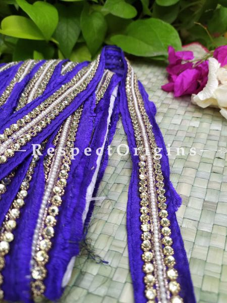 Beautiful Embroidered Silk Border; With Blue Base & Shimmer Golden Gota Work; RespectOrigins.com