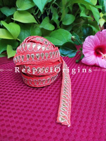 Beautiful Embroidered Silk Border; With Red Base & Shimmer Golden Gota Work; RespectOrigins.com