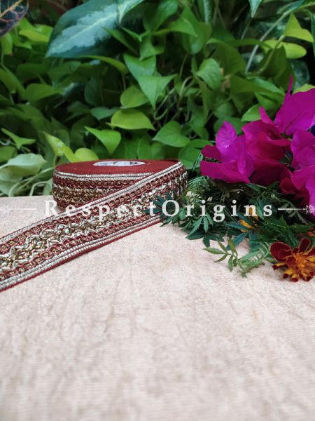 Beautiful Embroidered Silk Border; With Red & White Work; RespectOrigins.com