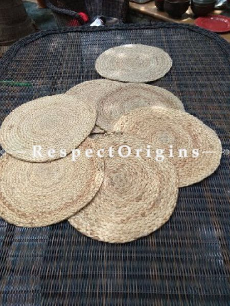 Buy Set of 6 Round Hand Braided Jute Place Mats or Table Mats; RespectOrigins