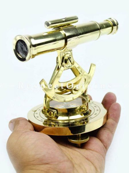 Buy Maritime Polished Brass Addaid Telescope Compass with Functional Telescope & Level Meter; Home Decorative Metal Decor At RespectOrigins.com