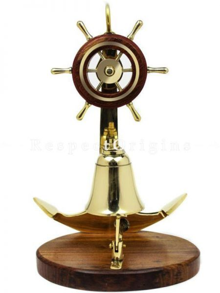 Buy Anchor Studded with Nautical Ship Wheel Mounted Premium Polished Brass Desk Decor At RespectOrigins.com