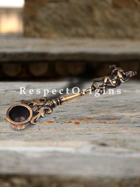 Buy Brass Krishna Havan Spoon With Flute And Peacocks At RespectOrigins.com