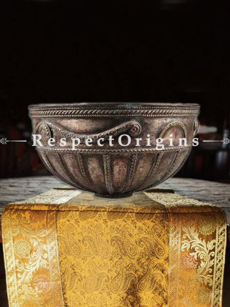 Buy Brass Bowl With Embossed Hand Chiseled Floral Bands And Decorated Rim At RespectOrigins.com