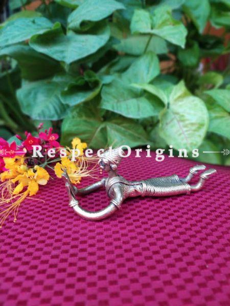 Handmade Brass Tribal Sleeping Landy with Book In Dhokra Art; 5 Inches; RespectOrigins.com