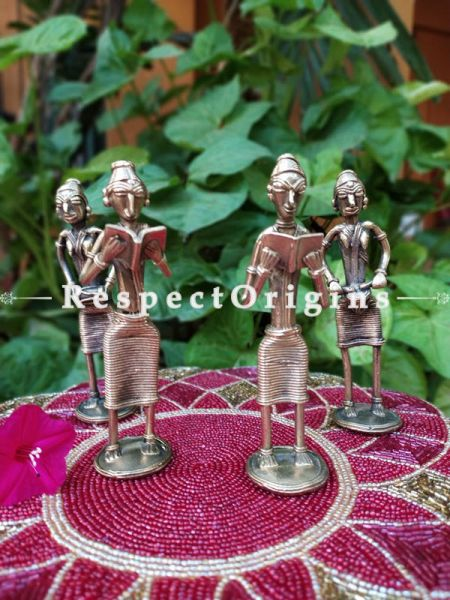 Musicians and Standing Lady with Book Handmade Brass Figurine In Dhokra Art; 6 Inches; RespectOrigins.com