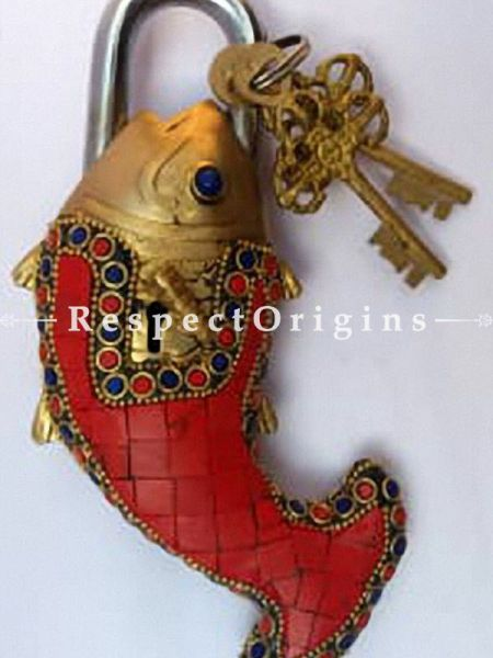 Buy Colored Fish Vintage Design Working Functional Lock with Keys At RespectOrigins.com