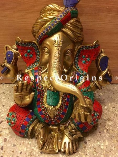 Buy Multicolored Exclusive Lord Ganesha Brass Statue; 16 in. At RespectOrigins.com