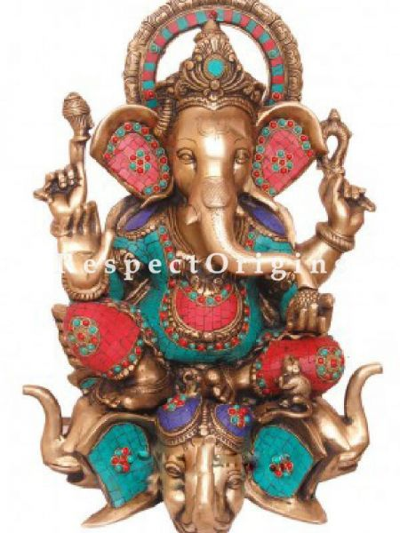 Buy Colorful Lord Ganesha Brass Statue; 25 inch At RespectOrigins.com