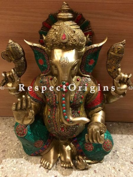 Buy Exclusive Multicolor Lord Ganesha Brass Statue; 20 inch At RespectOrigins.com
