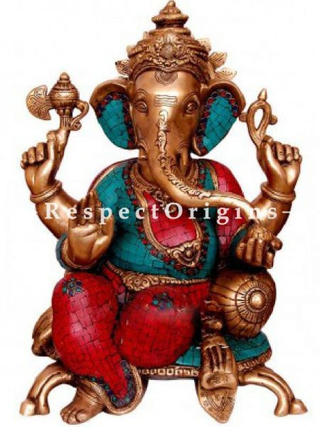 Buy Seated Ganesha in Brass; 22 inch At RespectOrigins.com