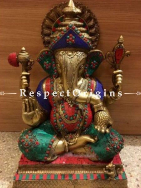 Buy Multicolor Exclusive Lord Ganesha Brass Statue; 28 inch At RespectOrigins.com