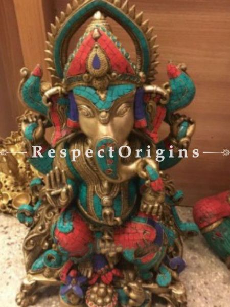 Buy Handcrafted Colorful Lord Ganesha Brass Statue; 26 inch At RespectOrigins.com