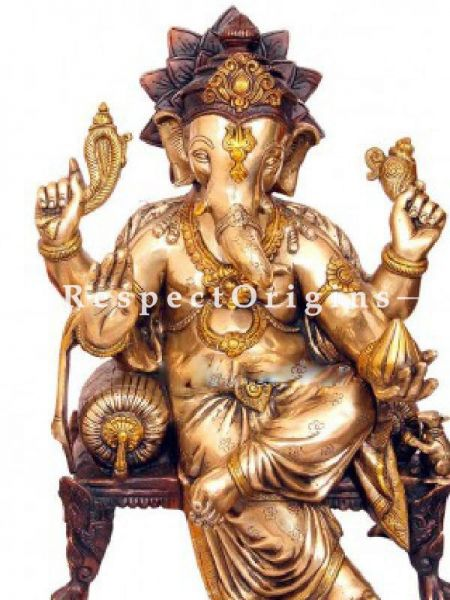 Buy Handcrafted Pure Brass Idol of Lord Ganesha; 20 inch At RespectOrigins.com