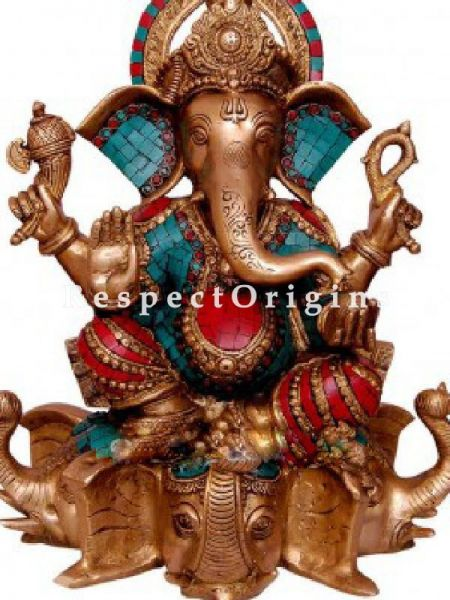 Buy Idol of Lord Ganesha; Brass; 20 inch At RespectOrigins.com