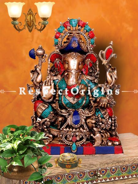 25 Inches Lord Ganesha Brass Statue With Peacock Feather Colors