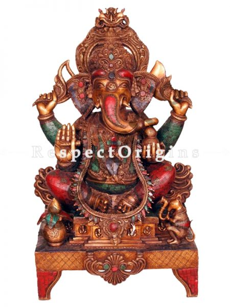 Buy 44 Inches Exclusive Lord Ganesha Brass Statue Multicolour at RespectOrigins.com