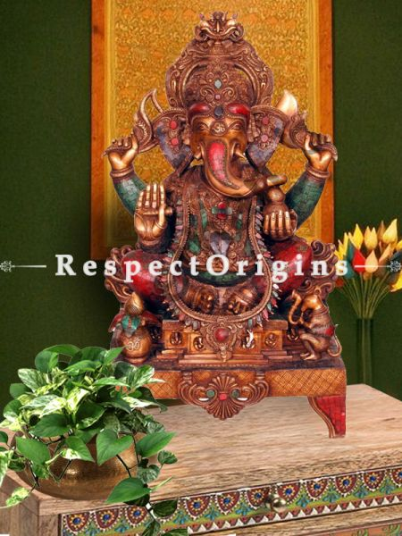 44 Inches Exclusive Lord Ganesha Brass Statue; Multicolour