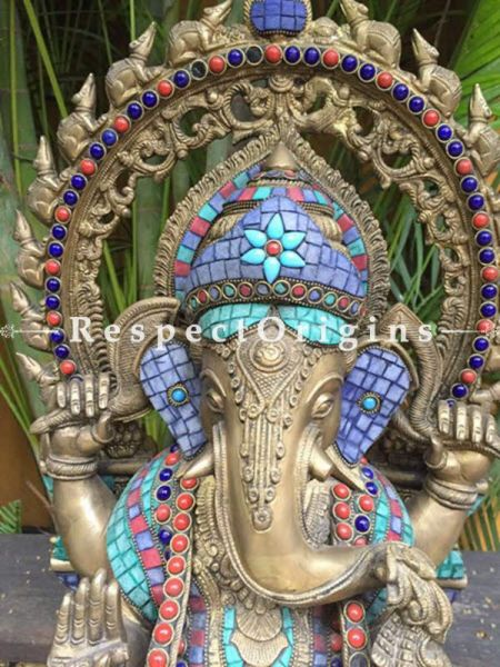 Buy Seated Ganesha Brass and Ladakhi Stonework at RespectOrigins.com