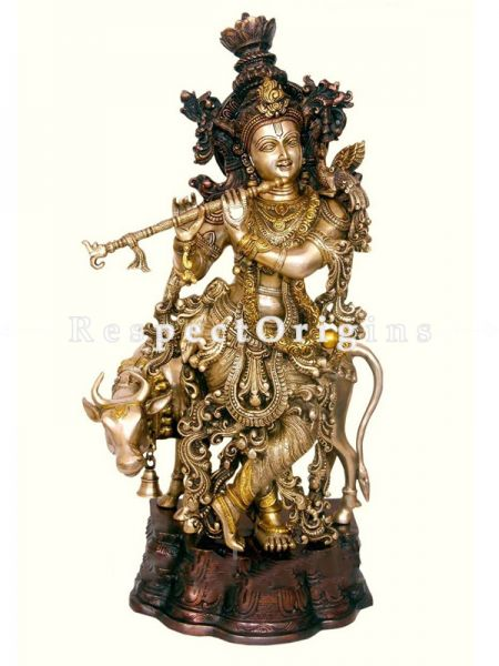 Buy Joyful Brass Idol Of Lord Krishna While Playing Flute 26 Inches at RespectOrigins.com