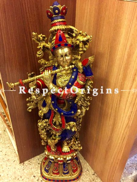 Buy Handcrafted Brass Krishna With Flute Statue Stone Work 28 Inches at RespectOrigins.com