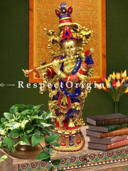 Handcrafted Brass Krishna With Flute Statue; Stone Work; 28 Inches