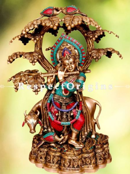Handcrafted Brass Cow Krishna Statue With Flute; Turquoise Work; 32 Inches