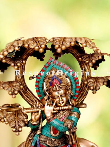Buy Handcrafted Brass Cow Krishna Statue With Flute Turquoise Work 32 Inches at RespectOrigins.com