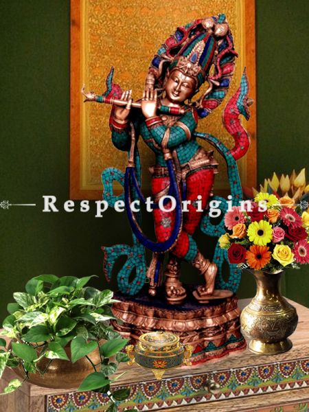 Beautiful Brass Handcrafted Krishna Statue; Turquoise Work; 36 Inches