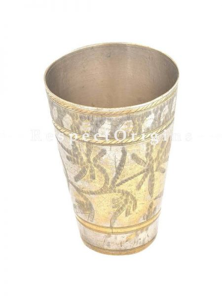 Buy Brass Lassi Glass With Silver Plating Leaves And Flower Etched At RespectOrigins.com