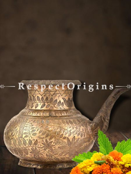 Buy Brass Leafy Engraved Copper Holy Water Pot With A Stout At RespectOrigins.com