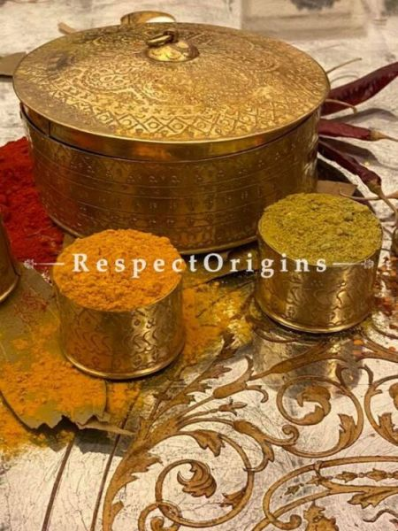 Brass Gold Condiment Masala and Spice Multipurpose Container