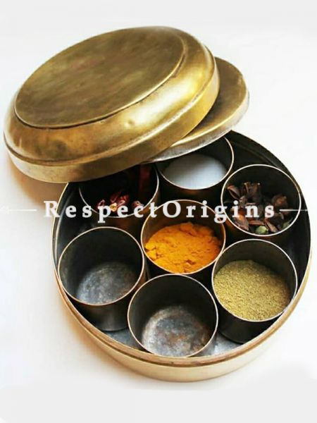Brass Condiment Masala and Spice Multipurpose Container or Box-Pr-50222-70460