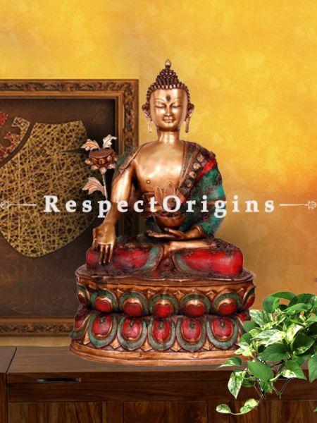 Handcrafted Shakyamuni Buddha Statue; Brass; 44 Inches