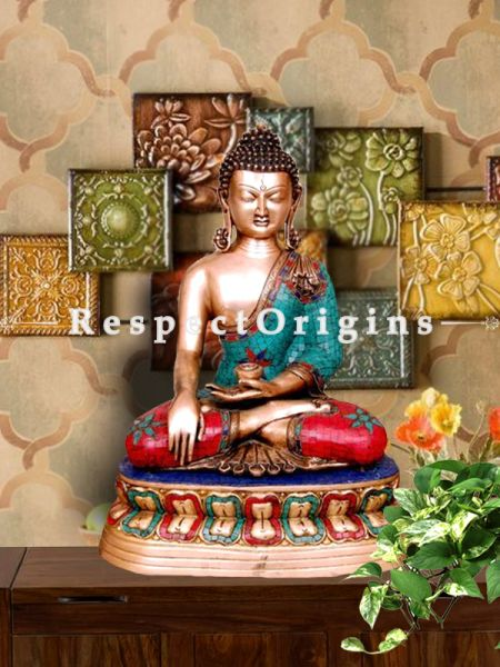 Multicolour Handcrafted Buddha Touching Earth Statue; Brass; 24 Inches