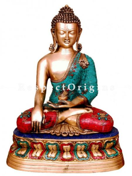 Buy Multicolour Handcrafted Buddha Touching Earth Statue Brass 24 Inches at RespectOrigins.com