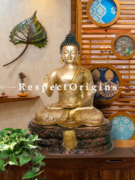 Peaceful 20 Inches Brass Statue Of Lord Buddha