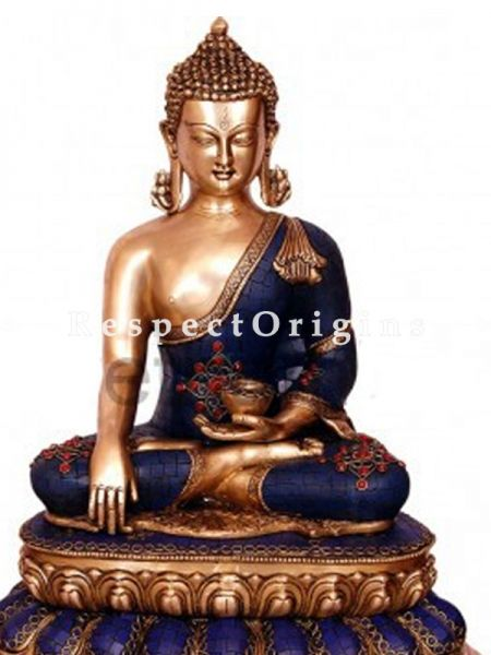 Buy Handcrafted Meditating Lord Buddha Statue Blue Brass 20 Inches at RespectOrigins.com