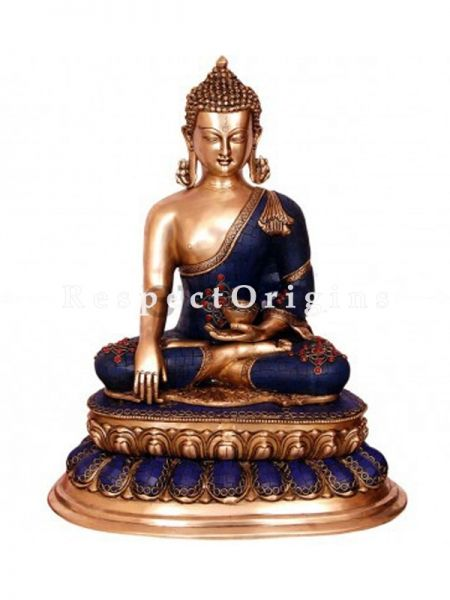 Handcrafted Meditating Lord Buddha Statue; Blue; Brass; 20 Inches