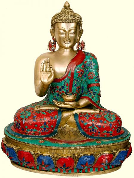 Buy Red, Blue & Turquoise Handcrafted Buddha Statue Brass 25 Inches at RespectOrigins.com