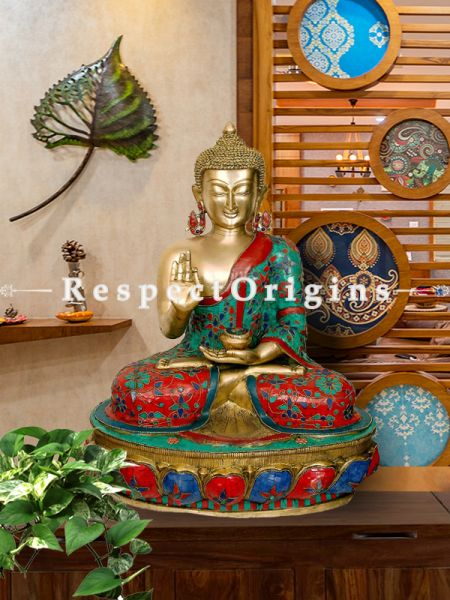 Red, Blue & Turquoise Handcrafted Buddha Statue; Brass; 25 Inches