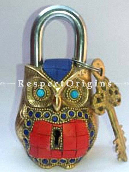 Buy Colored Owl Vintage Design Working Functional Lock with Keys At RespectOrigins.com