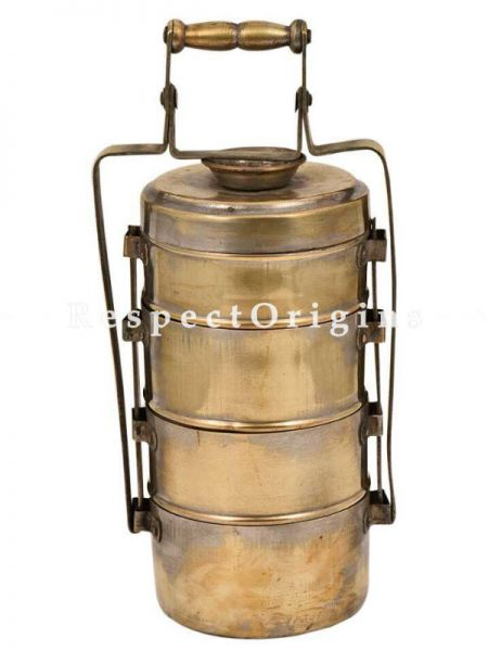 Buy Brass Collectible Picnic or Vintage Tiffin Carrier; 4 boxes & a detachable holder. At RespectOrigins.com